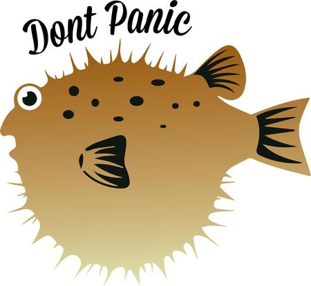 puffer: Aquarium and fish lovers will like this puffer fish. Illustration