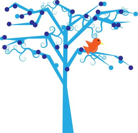 memorable: This sweet bird sings in a most unusual tree.  Swirls and dots come together to create a most memorable design.