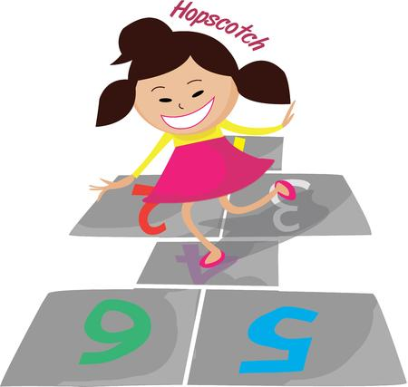 hopscotch: Our little cutie enjoys a game of hopscotch.  Add her to kid projects for a playful feel. Illustration