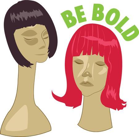 peluca: Esteticistas y estilistas querr�n estas pelucas. Vectores