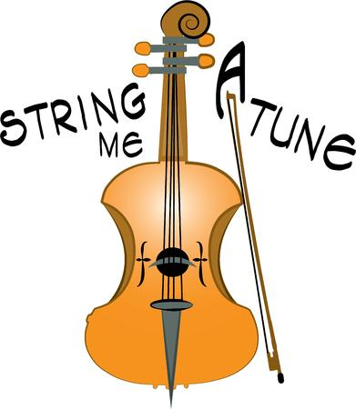 fiddle bow: A musician will like this string instrument. Illustration