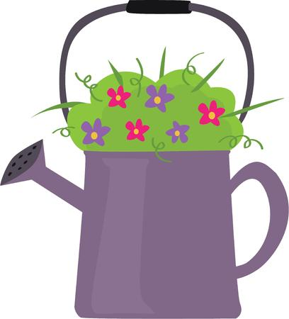 water can: Gardeners will want this water can for their flowers. Illustration