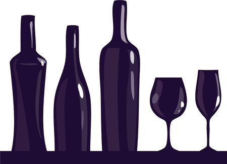 vino: Wine bottles and stemware make a striking silhouette.  Add this graphic to bar linens or an apron for something different and memorable.