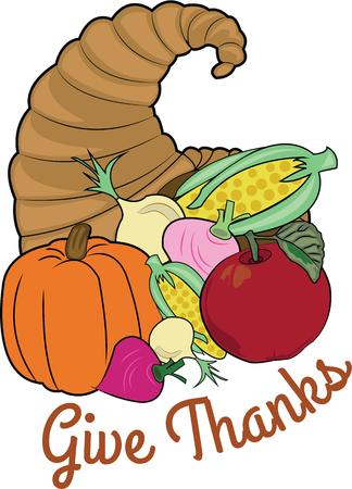 horn of plenty: A cornucopia is a perfect holiday decoration. Illustration
