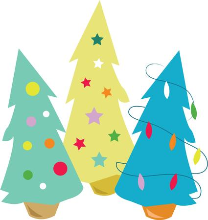 holiday symbol: Gli alberi di Natale sono un simbolo di vacanza clasic. Vettoriali