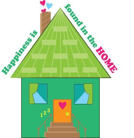 housewarming: A cute green house for a housewarming. Illustration