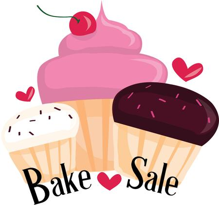 bake sale: Advertise your bake sale with this cupcake design.  These baked delights are sure to bring in loads of customers