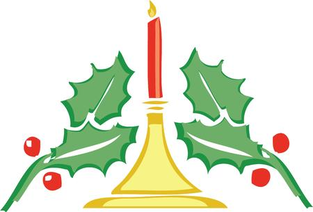 flame letters: Shine a Christmas candle in your decorations. Illustration