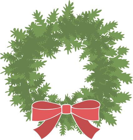 riband: Have a holiday wreath for your home. Illustration