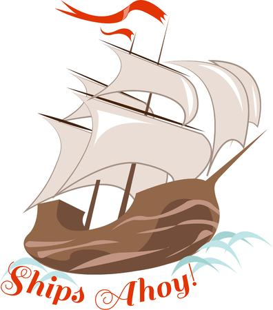 clipper: Set sail on a clipper ship to places of imagination and wonder.  Lovely on linens for your boat.