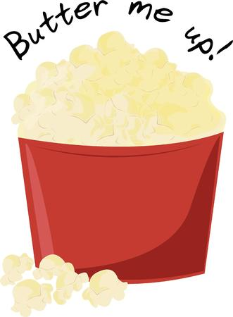 buttered: Popcorn is the perfect movie night snack. Illustration