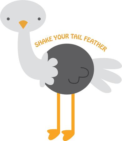 ratite: Share your fun side with a happy ostrich. Illustration
