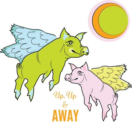 oink: When pigs fly is a whimsical design.
