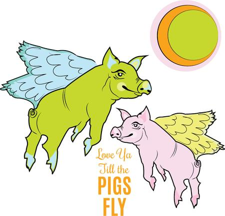 porker: When pigs fly is a whimsical design.