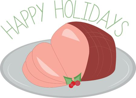 holiday dinner: Baked ham is a great holiday dinner. Illustration