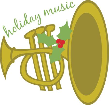 bugle: Make music at Christmas with a trumpet. Illustration