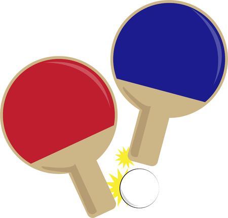 ping pong: Ping pong paletas muestran un amor por el juego. Vectores