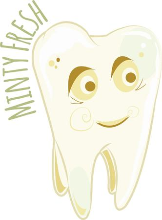 amused: Dentists will like a happy tooth. Illustration