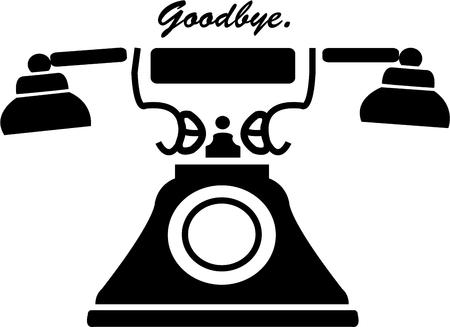 clean off: This vintage phone is a perfect addition to any communication design.  The clean black lines make it stand off printed or sewn page. Illustration