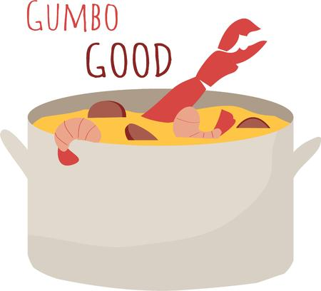 creole: Enjoy a great pot of gumbo Illustration