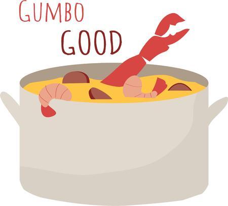creole: Enjoy a great pot of gumbo Illustration