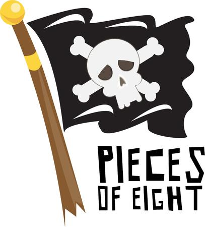 pirate flag: The pirate flag flies over the ship of buccaneers.  These Jolly Rogers mean no harm just a fun way to dress up pirate gear