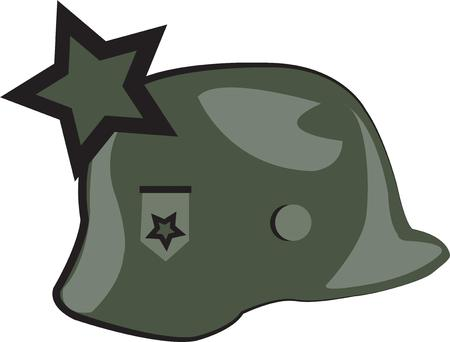 wears: Our combat hero wears a helmet with a star.  Green cammo colors this military gear.