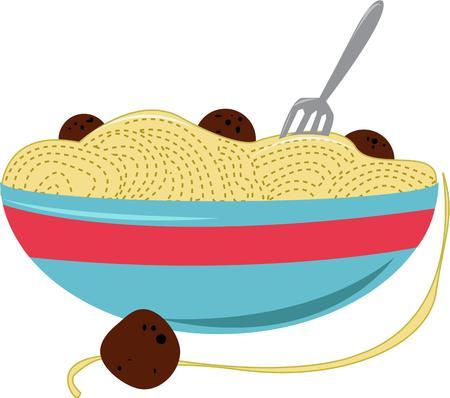 plato pasta: Qui�n no le gusta el espagueti Este delicioso plato de pasta completa con alb�ndigas es un complemento perfecto para un abrigo de cocinero Vectores