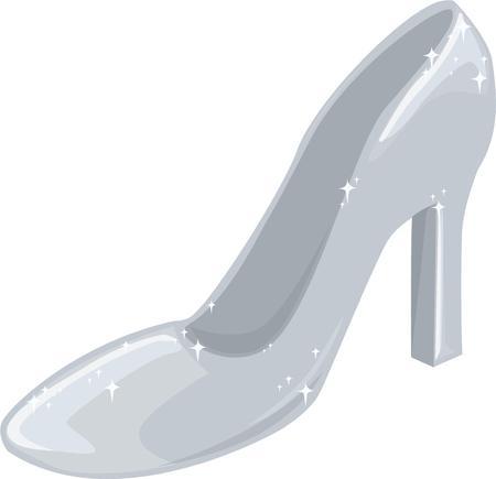 pump shoe: All princesses want a glass slipper. Illustration