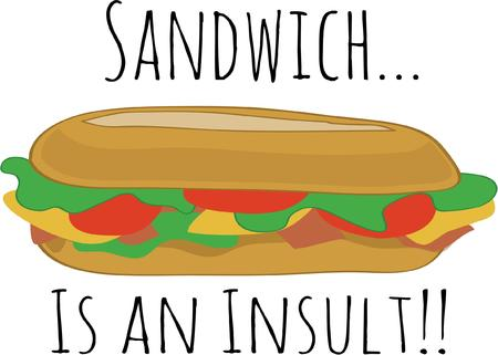 deli meat: A submarine sandwich always makes a good lunch. Illustration