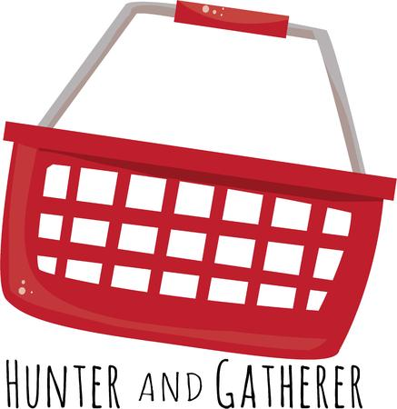 hunter gatherer: Take a shopping basket with you to the store. Illustration