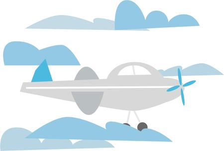 soar: Soar through the clouds in a cute airplane. Illustration