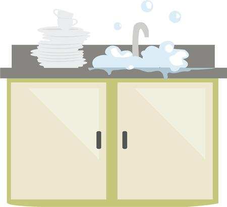 clean off: Cooks love a clean kitchen and can show it off with a bubbly sink. Illustration