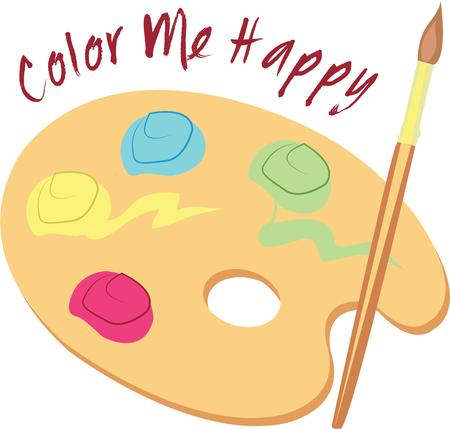 colorful paint: A colorful paint palette for an artist. Illustration