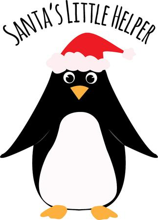 antarctica: Put a Santa hat on a penguin for holiday decor. Illustration
