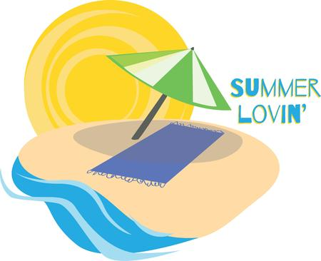 brolly: Enjoy the summer sun with this beach scene.