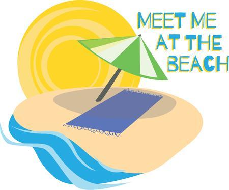 brolly: Disfrute del sol de verano con esta escena de la playa. Vectores