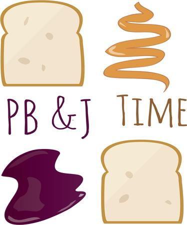 peanut butter and jelly: Kids will love a peanut butter and jelly sandwich anytime. Illustration