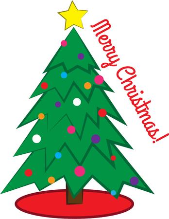 tannenbaum: Decorate for Christmas with a tree. Illustration