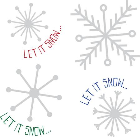 let it snow: Beautiful snowflakes can decorate any winter project. Illustration