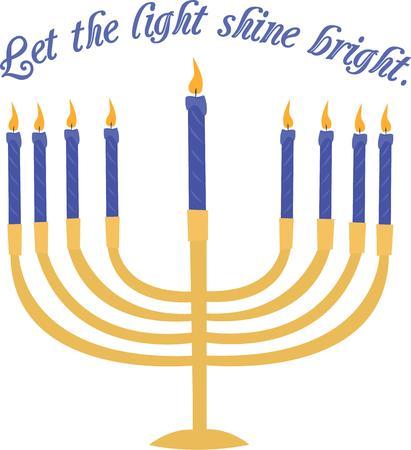candelabrum: Celebrate Hanukkah with a beautiful lite menorah. Illustration