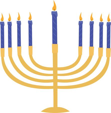 lite: Celebrate Hanukkah with a beautiful lite menorah. Illustration
