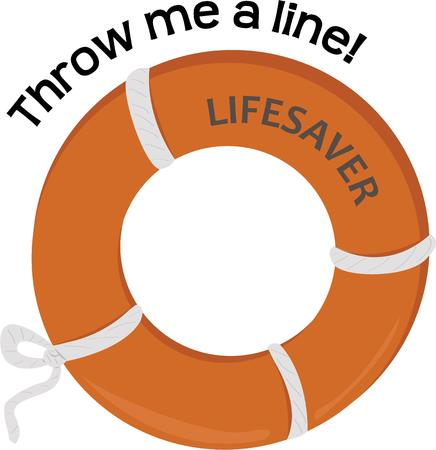 lifesaver: Whether boating or swimming have a lifesaver handy. Illustration