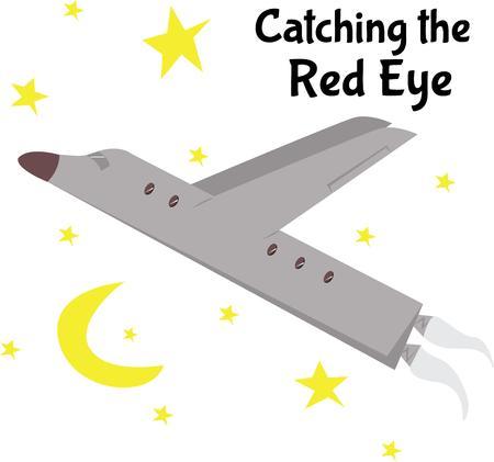 soar: Soar through the night sky on a jet airplane.