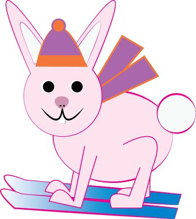 snow ski: Have a silly bunny for some snow ski fun. Illustration