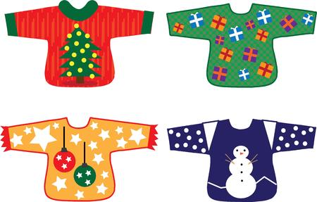 holiday tradition: Colorful and silly sweaters are a holiday tradition. Illustration