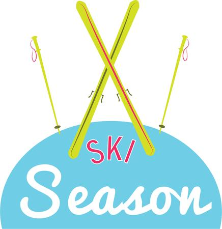 skiers: Skiers will love to have some great skis and poles. Illustration