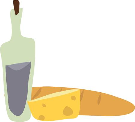 pane e vino: Use this bread cheese and wine for your next project. Vettoriali