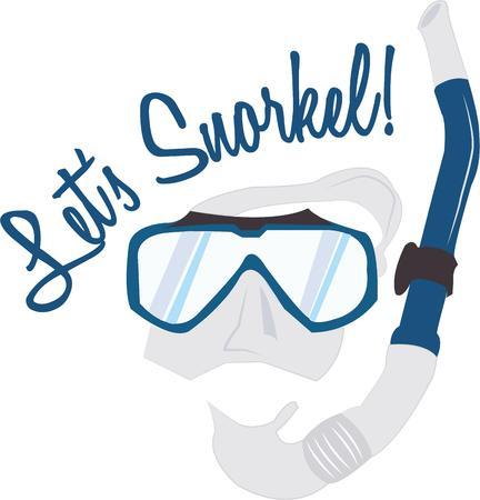 snorkel: Swimmers will enjoy fun in the water with a mask and snorkel.