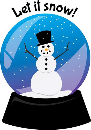 let it snow: Celebrate winter with a snowman in a snowglobe. Illustration